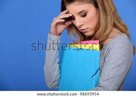 Stressed student - stock photo
