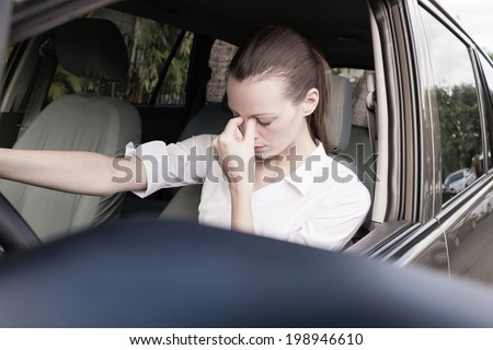 Stressed woman driver - transportation concept. - stock photo