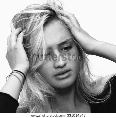 Stressed woman has mental health issues - stock photo