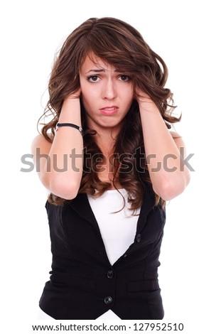 Stressed woman holding hair, studio shot - stock photo