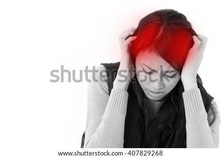 stressed woman suffering from headache, anxiety, migraine, hangover - stock photo