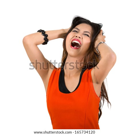 Stressed young asian woman, Isolated over white - stock photo