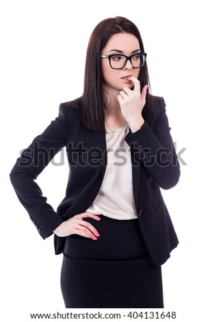 stressed young business woman biting her finger isolated on white background - stock photo