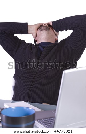 Stressed Young Focused Casual Professional at Work - Isolated Background