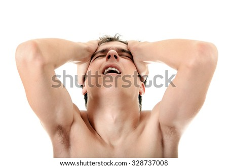 Stressed Young Man Isolated on the White Background - stock photo