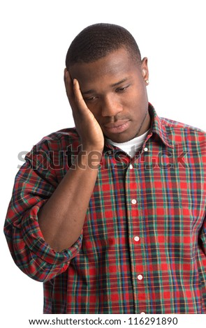 Stressful Expression Young African American Man on Isolated Background - stock photo