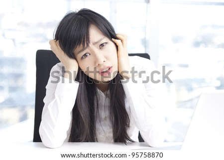 Stressful Young Businesswoman - stock photo