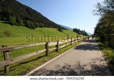 Stretch of the cycling track San Candido - Lienz (Val Pusteria)