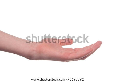 Stretched boy's hand isolated on white background