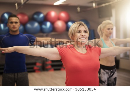 Stretching before some main exercises - stock photo