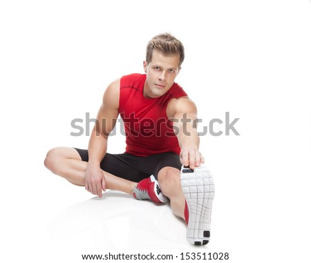 Stretching exercise after workout - stock photo