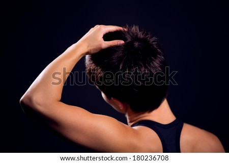 stretching exercises - stock photo