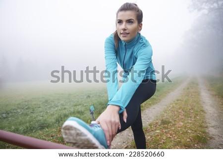 Stretching is very important part of training - stock photo