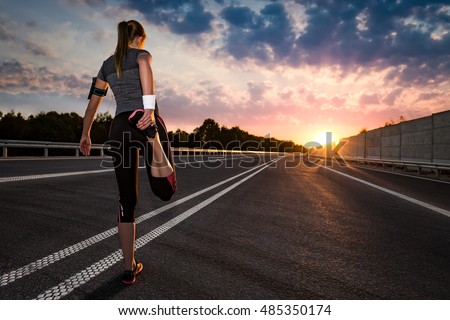 stretching run runner road jogging clothes flare sunset street fitness cross sunbeam success running sportswear