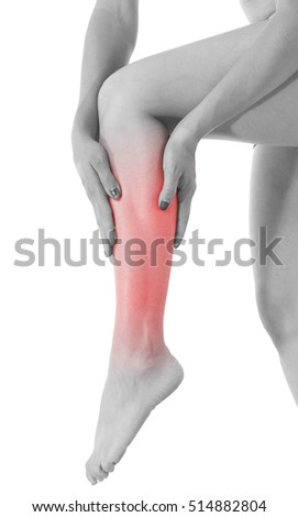 Stretching woman leg, pain in the calf.
