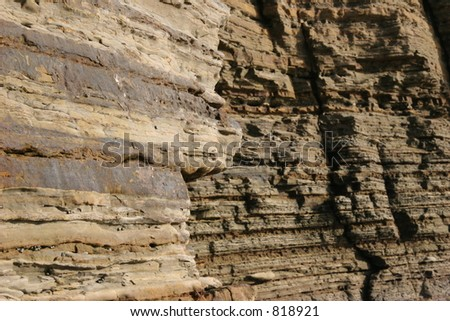 Striations of rock at coast