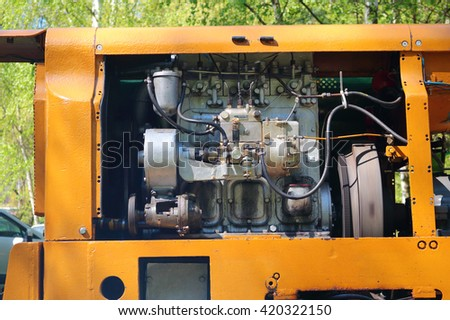 STRIBRO, CZECH REPUBLIC - MAY 7, 2016: Engine of mining locomotive BND 30. Outdoor mining museum exposition of mining equipment in Stribro (Silver), Czech republic, European union. - stock photo