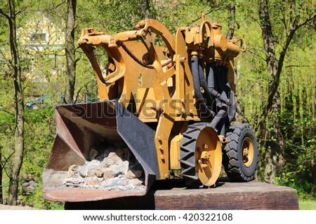 STRIBRO, CZECH REPUBLIC - MAY 7, 2016: Mining excavator in outdoor mining museum exposition of mining equipment in Stribro (Silver), Czech republic, European union. - stock photo