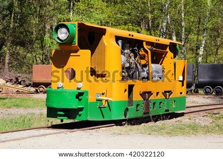 STRIBRO, CZECH REPUBLIC - MAY 7, 2016: Mining locomotive BND 30 in outdoor mining museum exposition of mining equipment in Stribro (Silver), Czech republic, European union. - stock photo