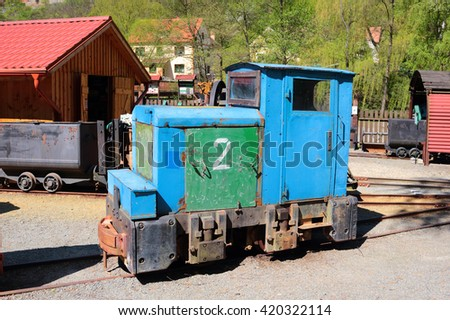 STRIBRO, CZECH REPUBLIC - MAY 7, 2016: Mining locomotive DH 120 in outdoor mining museum exposition of mining equipment in Stribro (Silver), Czech republic, European union. - stock photo