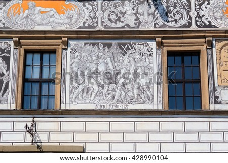 STRIBRO, CZECH REPUBLIC - MAY 8, 2016: Renaissance paintings of town hall on square of town Stribro (Silver). Stribro is historical medieval mining town in West Bohemia, Czech Republic, Europe. - stock photo