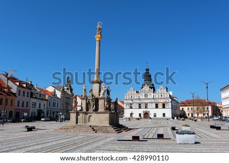 STRIBRO, CZECH REPUBLIC - MAY 8, 2016: Stribro renaissance square with town hall and Marian and Holy Trinity columns. Stribro (Silver) is historical town in West Bohemia, Czech Republic, Europe. - stock photo
