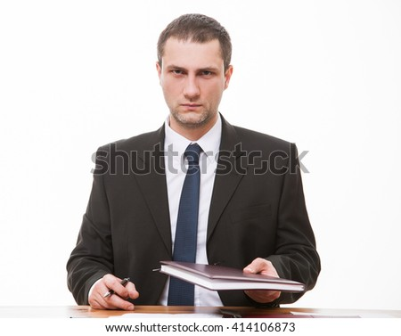 Strict boss giving a book, white background