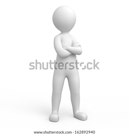 strict 3d human. image with a work path - stock photo