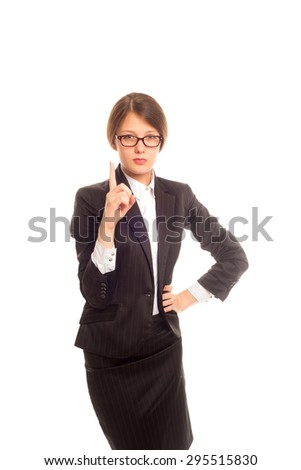 strict teacher in a suit on an isolated background