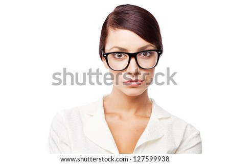 Strict woman in glasses, isolated on white background - stock photo