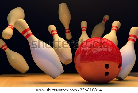strike in bowling 3d - stock photo