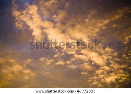 Striking cloud formations at sunset - stock photo
