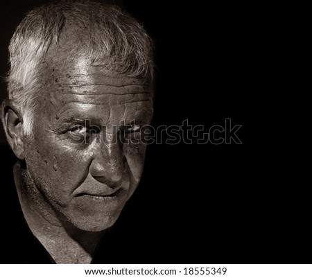 Striking Image of a man on Black background