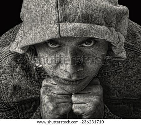 Striking Image of a young Latino Gang member - stock photo
