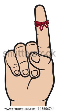 string around the finger reminder (reminder strings on finger, a piece of rope tied around the index finger, don't forget ribbon on index finger finger, reminder icon) - stock photo