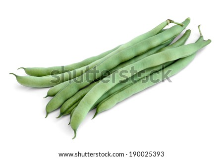 String beans on white background