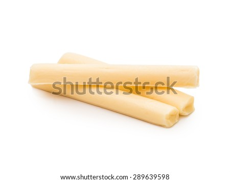 string cheese isolated on white - stock photo