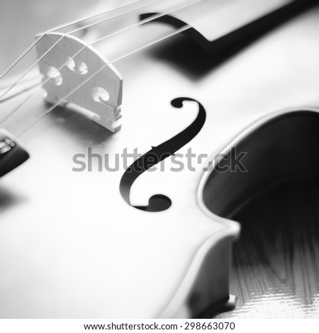 "string instrument ""violin"" on wood background black and white color tone style - stock photo"