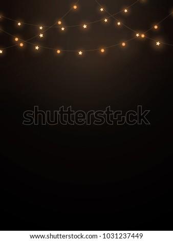 String Lights In Black Background For Decoration