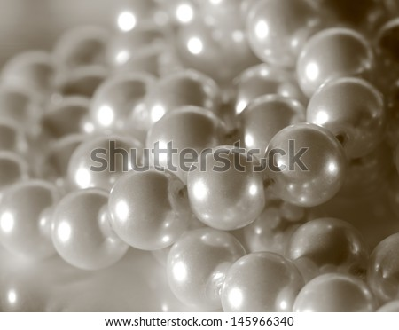 String of white shining pearls - stock photo