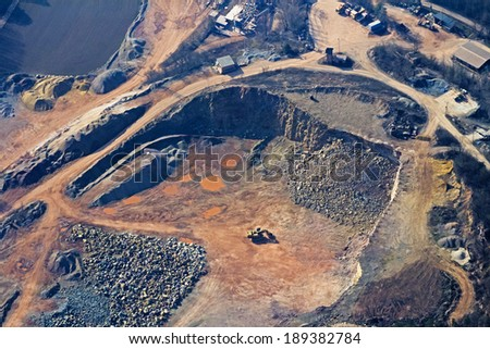 strip mine industrial area, from birds perspective - stock photo