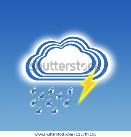 Stripe design rainy and thunder, Weather set - stock photo