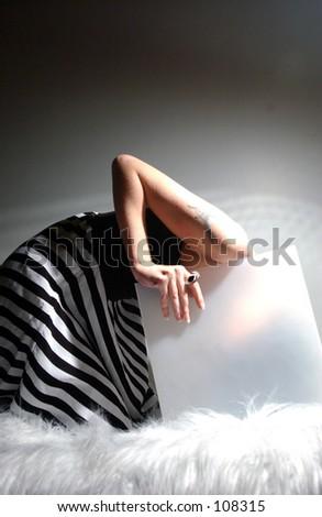 stripe girl - stock photo