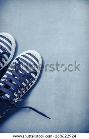 Stripe Sneaker in Blue - stock photo