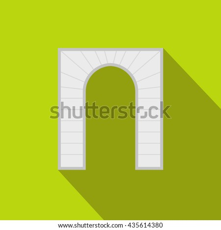 Striped arch icon, flat style - stock photo