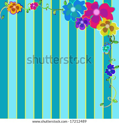 Striped background with flowers in the upper right corner. - stock photo