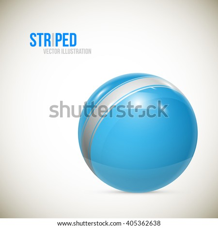 Striped ball. 3d Sphere with Texture. Ball isolated on white background. illustration
