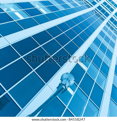 striped blue texture of glass architecture - stock photo