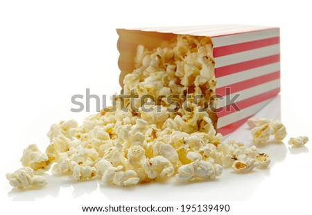 Striped box of popcorn isolated on white background - stock photo