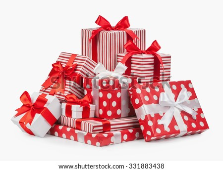Striped box with a bow isolated on a white background. - stock photo